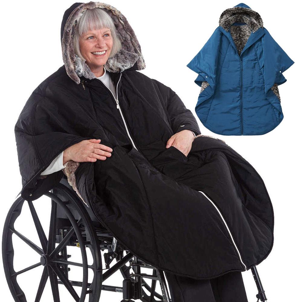 *RollyT* exklusiver winterwarmer Rollstuhlponcho Faux Pelz Allwetter-Cape